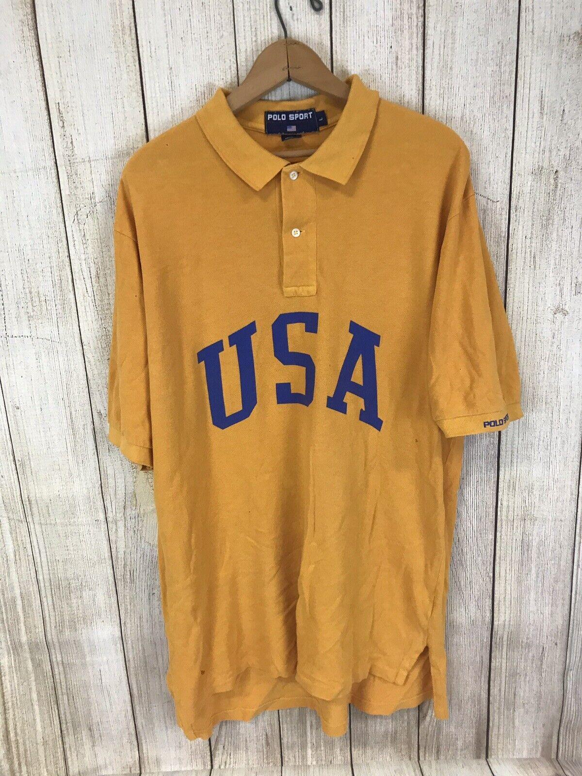 Vintage Ralph Lauren Polo Sport USA Spellout Shirt Men's L Stadium 90's