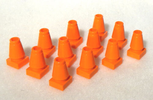 12 NEW LEGO ORANGE CONSTRUCTION CONES city traffic parking street road town