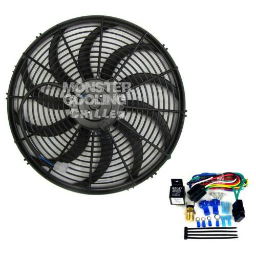 "CFM/'s 63 64 65 66 Chevy Pickup 16/"" Electric Radiator Fan /& Relay 120W,1900"