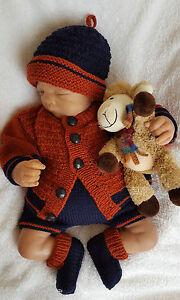 Baby-Knitting-Pattern-DK-63-TO-KNIT-Boys-or-Reborn-Dolls-Cardigan-Hat-Booties