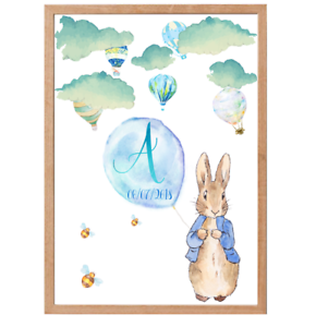 Bunny Art Prints Peter Rabbit Personalised Name Baby Nursery Decor Print Set