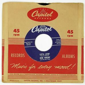GENE-VINCENT-AND-HIS-BLUECAPS-Lotta-Lovin-034-Wear-My-Ring-7IN-1957-ROCKABILLY-VG