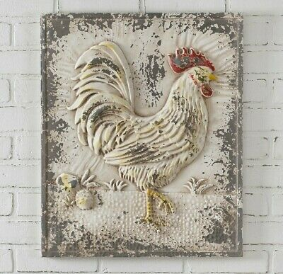 Farmhouse Chic ROOSTER Wall Decor Plaque Metal French ...