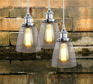 Chrome-Glass-Industrial-RETRO-Vintage-Ceiling-Lampshade-Pendant-light-Fixtures