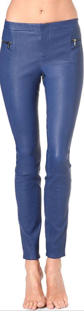 NWT J Brand Minette Lamb Leather Skinny Pants Leggings  1450 bluee Size 4