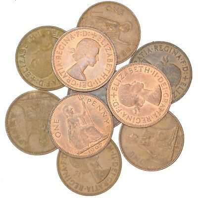 PIECES OF GREAT BRITAIN LARGE COPPER PENNIES 100 MIXED LOT 100 COINS