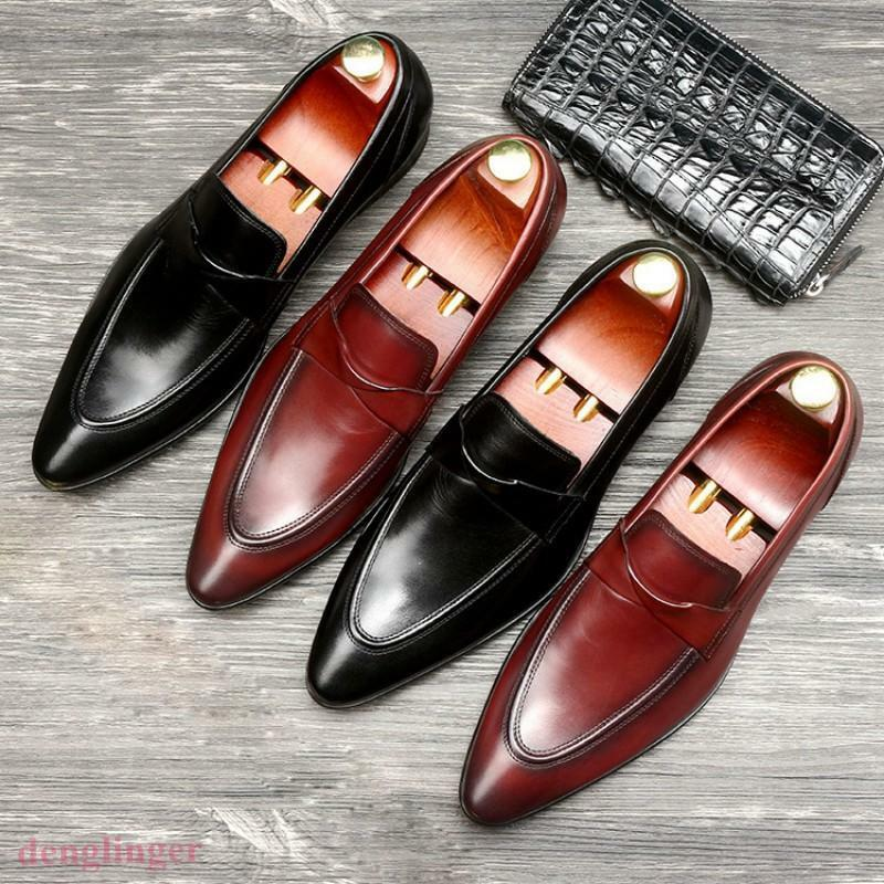 2 color New Pointed Toe Leather Mens Formal Dress Loafer shoes Pull On Retro HOT