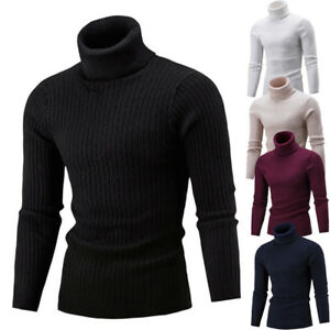 Men-Slim-Warm-Knit-Sweater-High-Neck-Jumper-Top-Turtleneck-Solid-Winter-Pullover