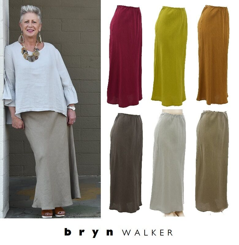 BRYN WALKER USA Light Linen  LONG BIAS SKIRT Slimming Tall 1X 2X 3X  SPRING 2017