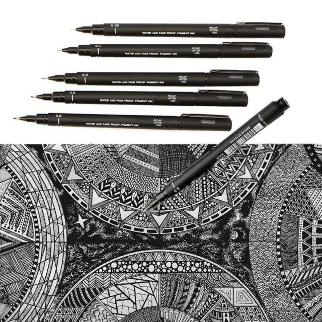 Uni Pin Fine Liner Pen Pigment Marker Waterproof Ink Brush 1.2mm 0.03mm