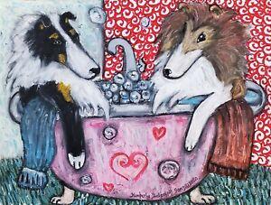 Rough Collie in a Clawfoot Tub 13 x 19 Dog Folk Art Print Signed by Artist KSams