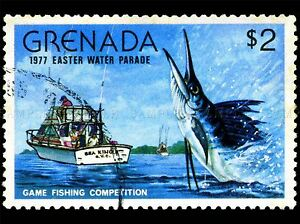 GRENADA-VINTAGE-POSTAGE-STAMP-FISHING-MARLIN-PHOTO-ART-PRINT-POSTER-BMP1691A
