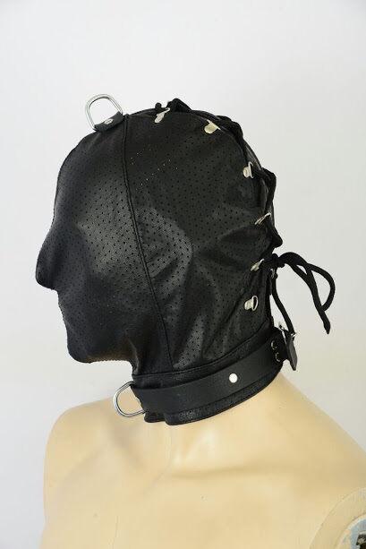 AW-908 leder maske PERFORIERT ,leather mask,hood,masque n cuir haube ledermaske | Öffnen Sie das Interesse und die Innovation Ihres Kindes, aber auch die Unschuld von Kindern, kindlich, glücklich  | Auf Verkauf  | Sehr gute Farbe  | Räumungsverkauf  |