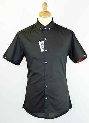 NEW 60s RETRO MOD ROUND Penny COLLAR Button Down Short Sleeve BLACK SHIRT MC129