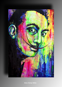 Details About Abstract Portrait Painting Famous Person Dali Art Colourful Painting Uv Glow