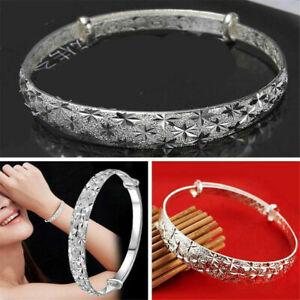 925-Silver-Crystal-Chain-Bangle-Cuff-Charm-Bracelet-Women-Fashion-Jewelry-Gifts