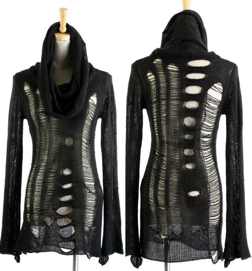 PUNK RAVE gothic distressed cowl neck schwarz knit sweater Hemd oben steampunk NEW