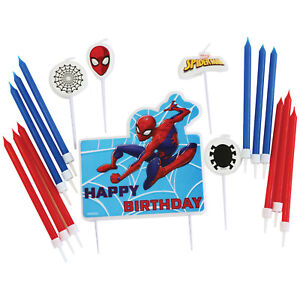 Spiderman-Birthday-Cake-Candle-Set-Cake-Topper-Party-Decorations-Picks-amp-Candles