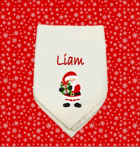 Personalised Table Blanc Serviette Noël Santa Maman Papa Nan Grand-père de famille