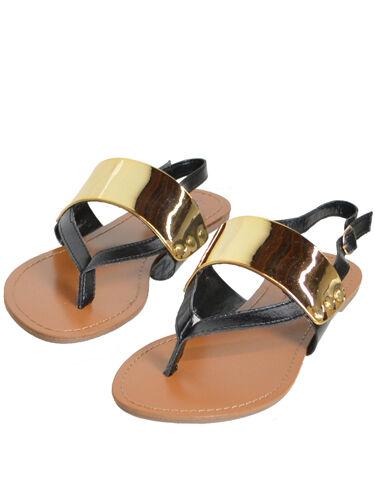 New Womens Metallic Thong Flat Shoes Sandals Black Flip Flops Shoes Flat Size 10 97e325