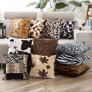 Image Is Loading UK Animal Zebra Leopard Print Pillow Case Sofa