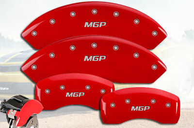 Set of 4 MGP Caliper Covers 12162SMGPRD MGP Engraved Caliper Cover with Red Powder Coat Finish and Silver Characters,
