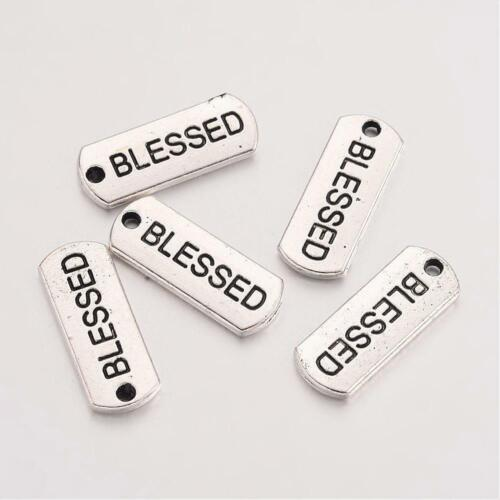 4 Word Charms BLESSED Pendants Inspirational Antiqued Silver Jewelry Tags