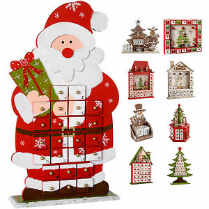 Details About Wooden Advent Calendar Christmas Decoration Santa Snowman Train Reindeer House