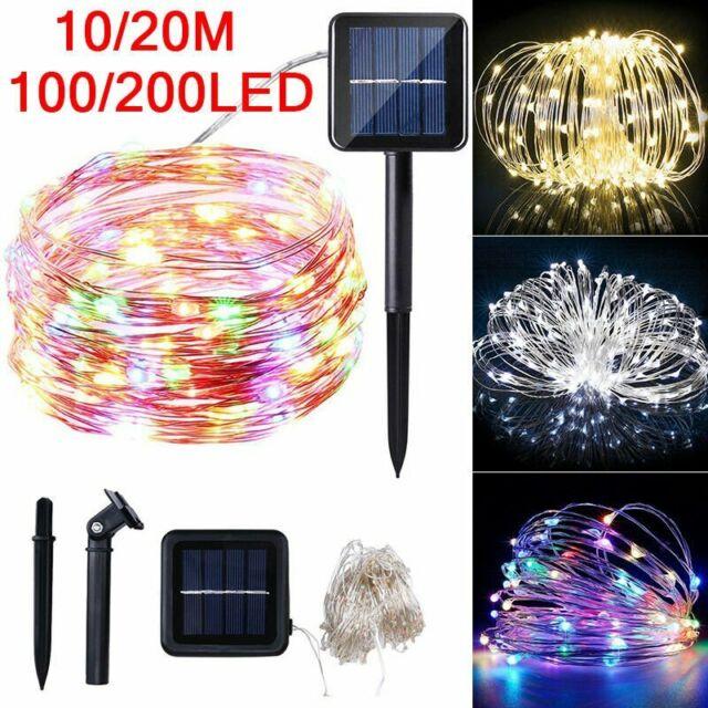 Outdoor Solar Fairy String Light 10//20M 100//200LED Copper Wire Light String Xmas