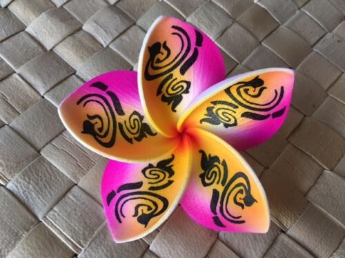"3/"" Hawaiian Plumeria Tribal Flower Hair CLIP  PINK YELLOW Wedding Luau"