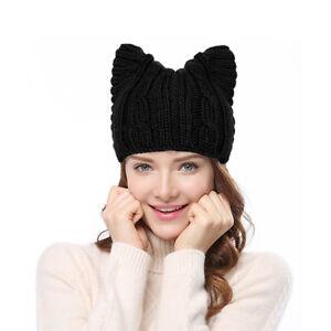b23bcff28ed72 HandKnit Womens Girl Cute Cat Ear Meow Kitty 90% Wool Winter Cap ...