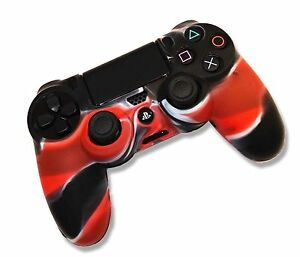 Playstation-PS4-Dualshock-4-Controller-Camo-Red-Silicone-Gel-Skin-Grip-Case-UK