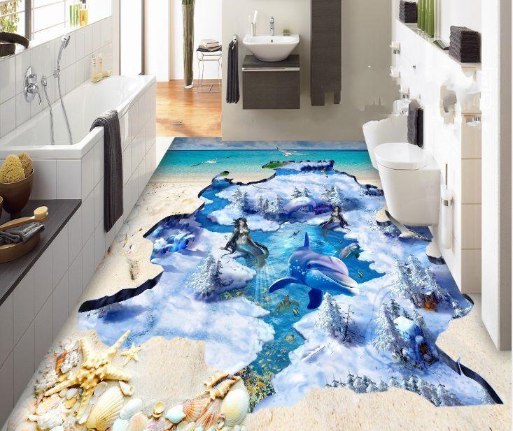 3D neve delfino pesce Pavimento Foto Wallpaper Murales Muro Stampa Decalcomania
