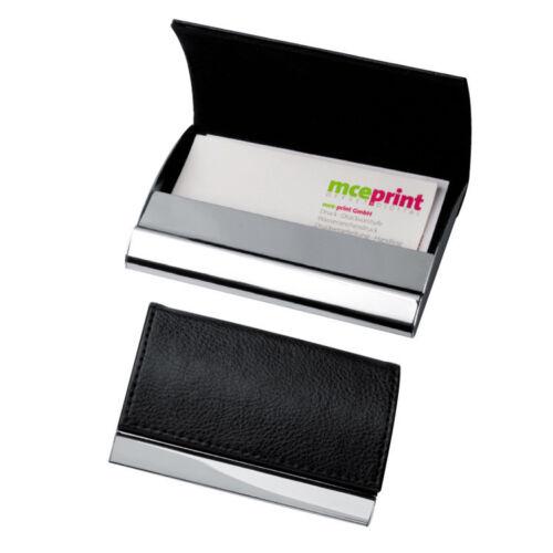 hochwertiges Visitenkartenetui schwarz Farbe aus Metall chrom-glänzend