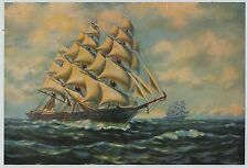 Vintage 1930s-40s Print Masted Ocean Vessel Ship Clipper James Bains