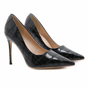 Women Sexy High Heels Pumps Stone Grain Pointed Toe Stiletto Shoes Party Evening