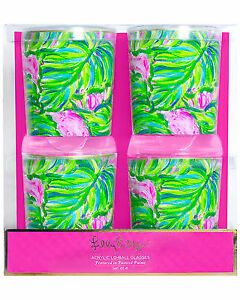 Lilly Pulitzer Acrylic Lo Ball Gles Set Of 4 Painted Palms Green Pink
