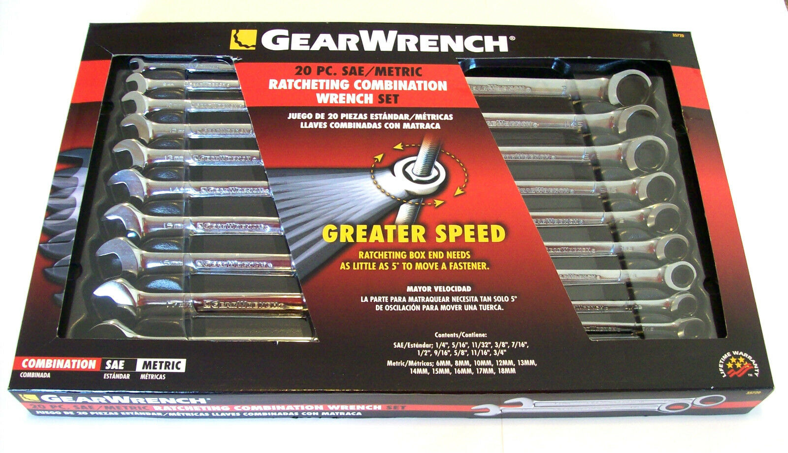 20pc GEARWRENCH RATCHETING COMBINATION WRENCH SET SAE METRIC