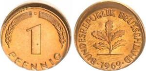 Frg 1 Pfennig 1969 G Lack Coinage: 10% Dezentriert Prfr Saint (5) Beautiful