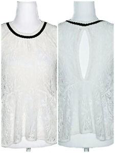 FREE-PEOPLE-XSmall-Women-039-s-Ivory-Peplum-Lace-Blouse-Sleeveless-Top-Cut-Out-Back