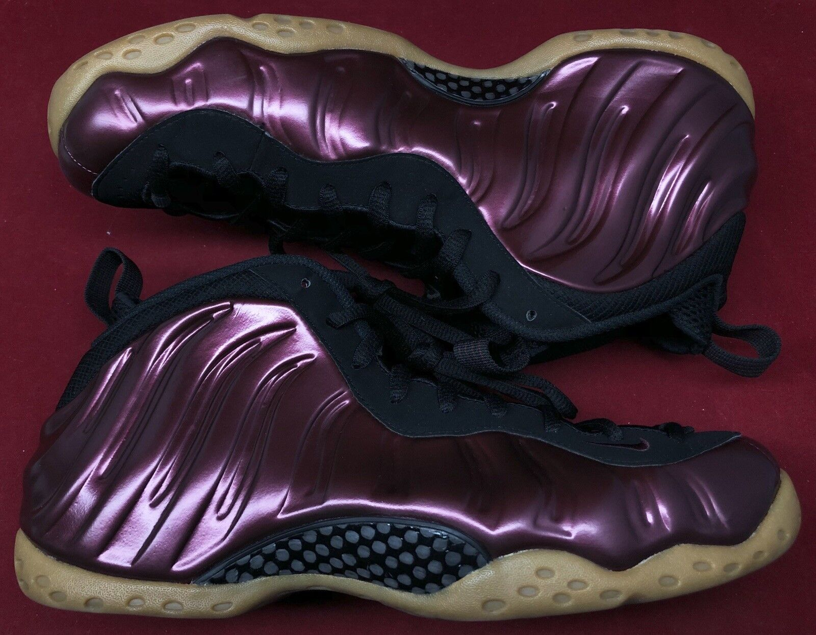 Nike Foamposite One Night Maroon Gum Black Burgundy 314996-601 Sz 10.5