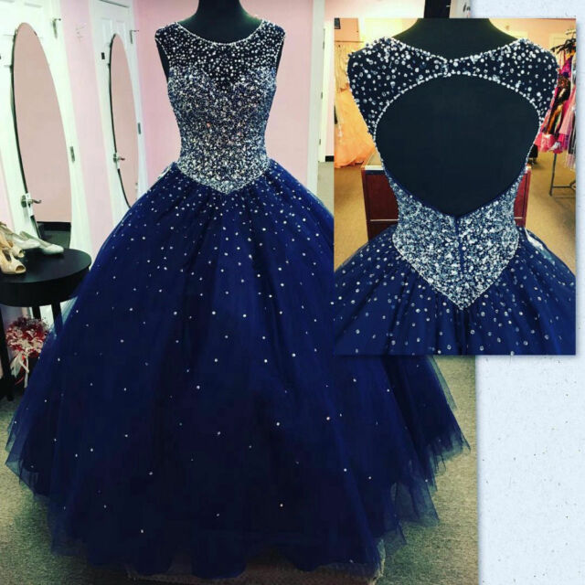 8c73d401dbb Luxury NAVY Blue Formal Ball Gown Quinceanera Dresses Sweet 16 Prom Party  Dress
