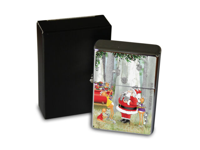 Chrome Windproof Lighter Oil Refillable Christmas Santa Claus