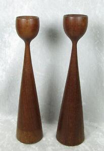 Image Is Loading Vintage Pair Of Danish Modern Turned Wood Candlesticks