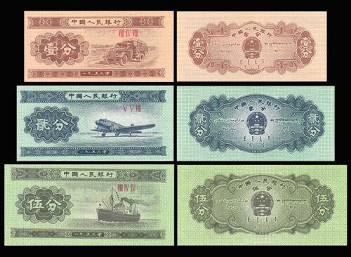 Set of 3Pcs Banknotes,1 2 5 Fen,1953,China 3 rd,Uncirculated