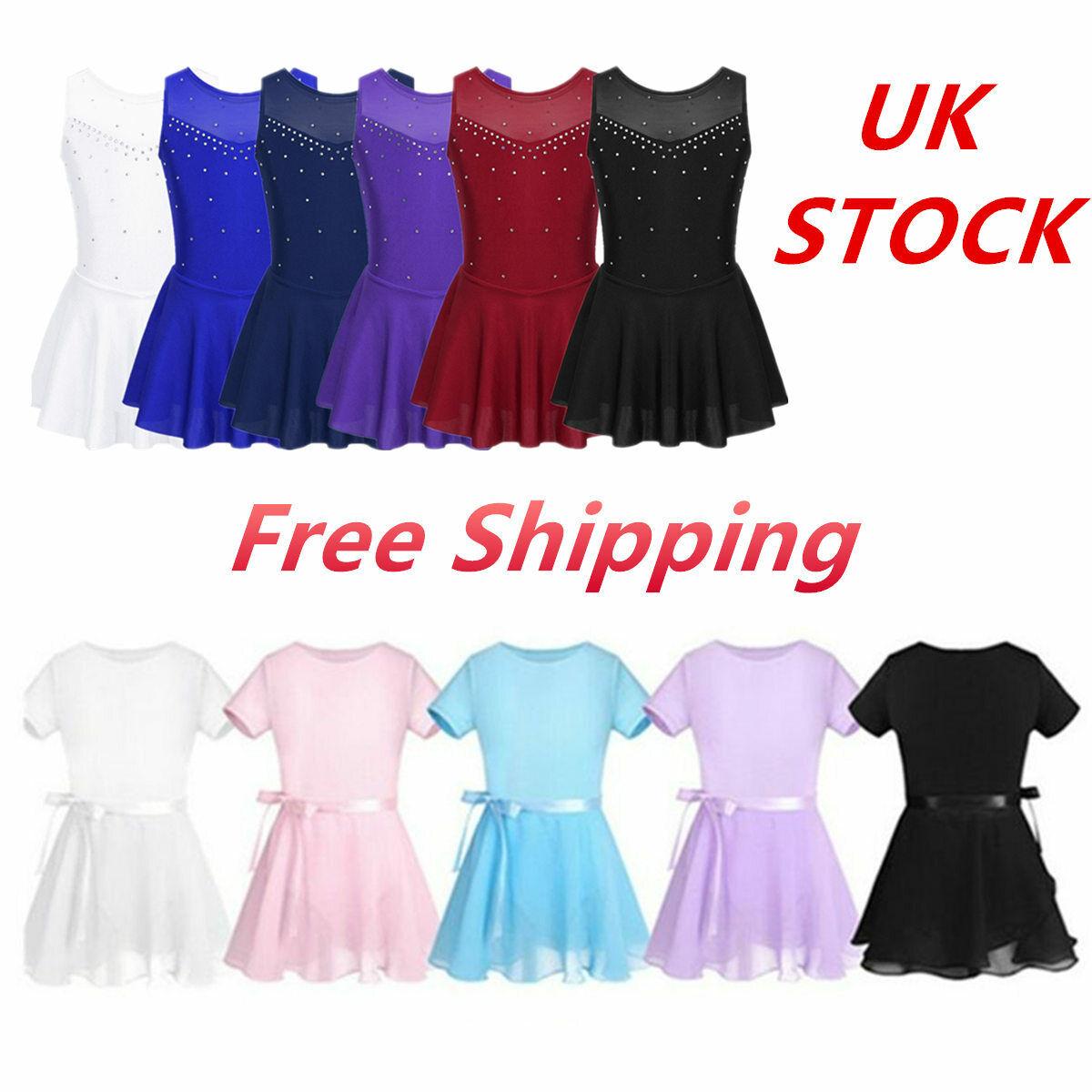 UK Girls Ballet Dress Ice Skating Gymnastic 2Pcs Leotard Lyrical Dancewear Skirt