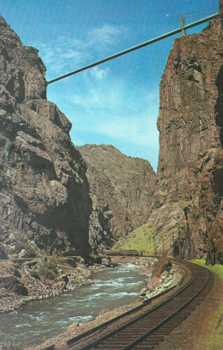 Suspension Bridge  Train /& River  Royal Gorge  Canon City  Colorado   Postcard