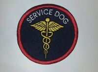 Embroidered Sew-on Patch - Service Dog With Gold Medical Caduceus