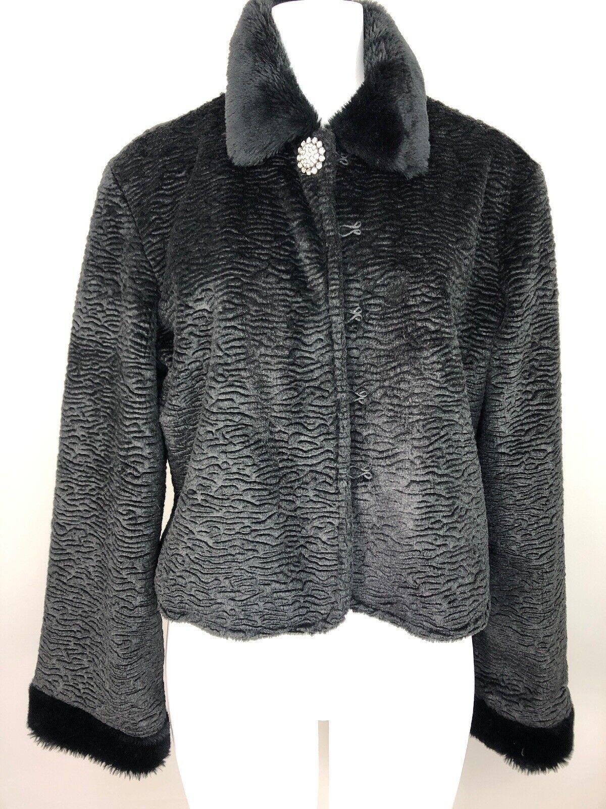 Brandon Thomas Womens Large Black Faux Fur Lamb One Jeweled Button Jacket