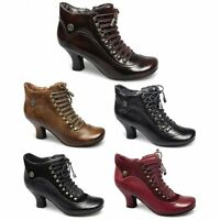Hush Puppies VIVIANNA Womens Ladies Leather Suede Victorian Lace-Up Zip Boots